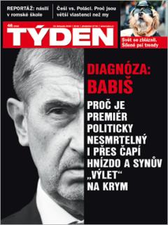Obálka aktuálního čísla časopisu TÝDEN.