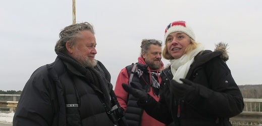 Director Andrea Sedláčková during the recording of Antonin Kratochvil's documentary (left) in Chernobyl on November 20, 2018. In the middle is Michael's son.