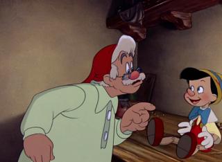 Postava Geppetta a jeho dřevěné, živé loutky Pinocchia v původním filmu z roku 1940.
