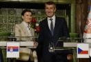 Premiér Andrej Babiš (vpravo) a srbská předsedkyně vlády Ana Brnabičová.