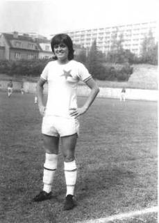 Jaroslava Rinnerová-Poláčková v dresu Slavie Praha.