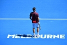 Roger Federer na kurtu v Melbourne Parku.