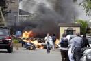 Snímek hotelového komplexu těsně po výbuchu.