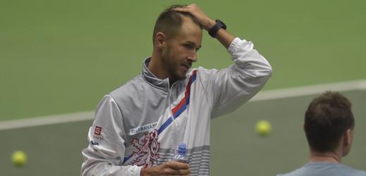 Lukáš Rosol na tréninku českého daviscupového týmu.