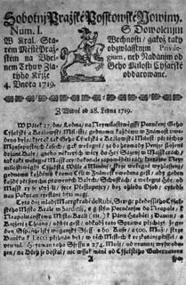 Sobotní (Outerní) Pražské poštovské noviny z rozličných zemí a krajin přicházející vycházely dvakrát týdně.