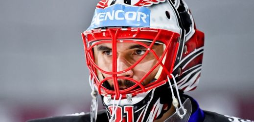 Hokejový brankář Jakub Kovář.
