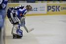 Hokejový brankář Marek Langhamer v dresu Komety Brno.