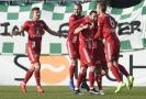 Radující se hráči Olomouce po vstřelené brance v Ďolíčku.
