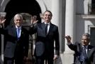 Zleva: prezident Chile, Sebastián Piñera, prezident Brazíli Jair Bolsonaro a vpravo prezident Ekvádoru Lenín Moreno.
