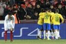 Česká fotbalová reprezentace se utkala s Brazílií.