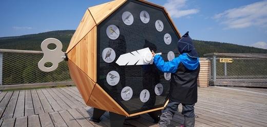 Ptačí hodiny jsou nainstalované na samotném vrcholku vyhlídkové věže.