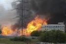 Hořící elektrárna v Mytišči.