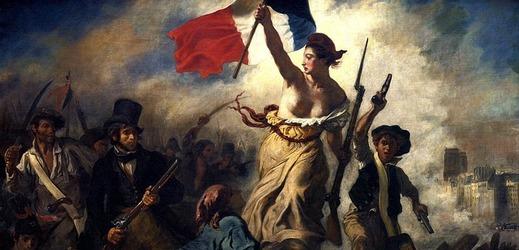 Obraz francouzského malíře Eugèna Delacroixe Svoboda vede lid na barikády.