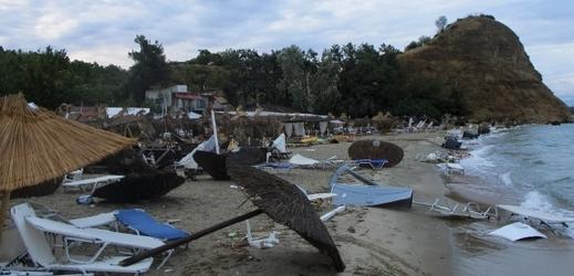 Následky bouře na poloostrově Chalkidiki.