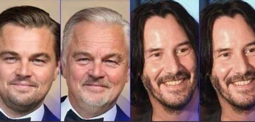 Pozměněné fotografie slavných herců prostřednictvím aplikace FaceApp.