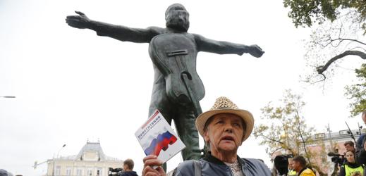 Protestní akce v Moskvě.
