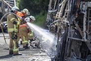 Na dálnici v Chorvatsku shořel bus z Česka, nikomu se nic nestalo