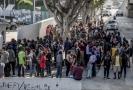 Migranti na hranicích v Mexiku, kteří se snaží získat azyl v USA.
