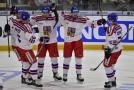 Čeští hokejisté se radují z gólu na Euro Hockey Challenge.
