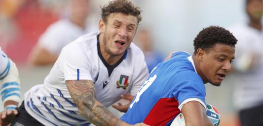 Momentka z utkání mezi Itálií a Namibií.