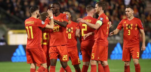 Radost fotbalistů Belgie po gólu.