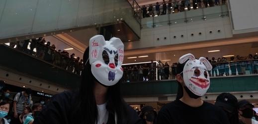Maskovaní demonstranti.
