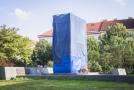 Zakrytá socha maršála Koněva.