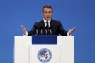 Francouzský prezident Emmanuel Macron na slavnostním otevření mimoevropské pobočky pařížského Centre Pompidou.