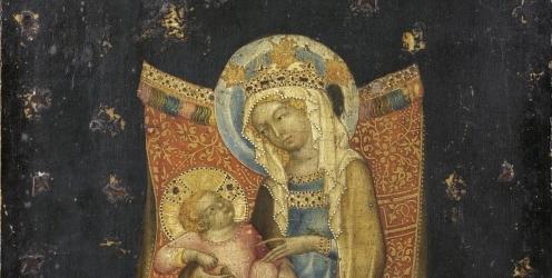 obraz nazvaný Trůnící Panna Marie s dítětem.