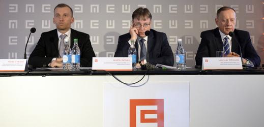 Zleva ředitel divize obchod a strategie Pavel Cyrani, ředitel divize finance Martin Novák a ředitel divize klasická energetika Ladislav Štěpánek.