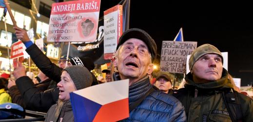 Demonstranti na Václavském náměstí.