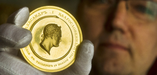Raritní zlatá medaile ruského cara Alexandra I.