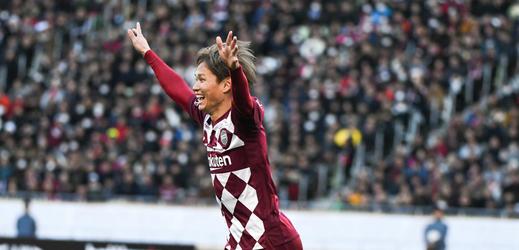 Radost po penaltovém rozstřelu v utkání o japonský fotbalový Superpohár.