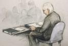 Skica Juliana Assange u britského soudu.