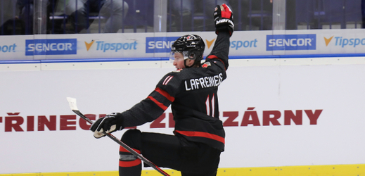 Alexis Lafreniere from Canada rejoices at the goal at the Junior World Championship.