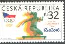 Poštovní známka s českou atletkou.