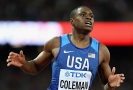 Mistr světa v běhu na 100 metrů Christian Coleman.