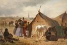 Obraz Cikánský tábor před Düsseldorfem, Emil Volkers (1831–1905).