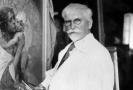 Malíř Alfons Mucha při práci, 1930.