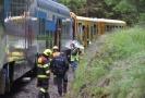 Hasiči a policisté na místě vlakového neštěstí u Perninku na Karlovarsku, kde se 7. července 2020 čelně srazily dva osobní vlaky. Srážka si vyžádala nejméně dva mrtvé a dvě až tři desítky zraněných, některé vážně.