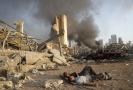 Libanon: trosky v Bejrútu po explozi.