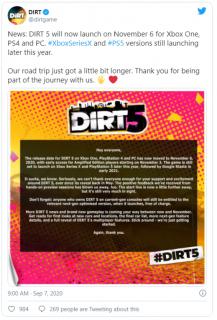 Dirt 5 se opět odkládá, Cyberpunk 2077 naštěstí ne