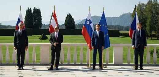 Ministr zahraničí Tomáš Petříček s kolegy ze Slovinska, Slovenska a Rakouska.