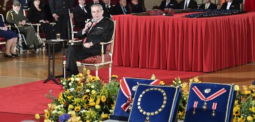 Miloš Zeman během slavnostního aktu.