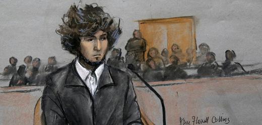 Kresba jednoho z pachatelů bombového útoku v Bostonu Džochara Carnajeva.