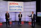 Moderátor pořadu Jaromír Soukup, předseda SPD Tomio Okamura a poslanec Leo Luzar (KSČM).