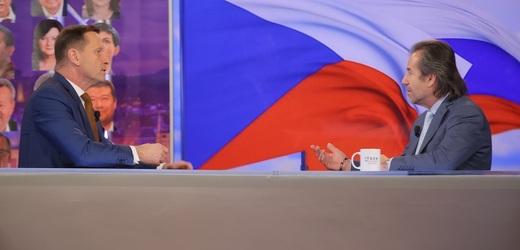 Moderátor pořadu Jaromír Soukup a bezpečnostní poradce Andor Šándor.