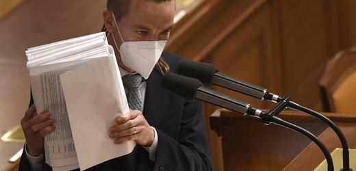 Poslanec a předseda Pirátů Ivan Bartoš vystoupil 12. května 2021 na mimořádné schůzi Sněmovny ke schvalování nového stavebního zákona.