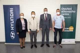 Otevření očkovacího centra Hyundai Nošovice.