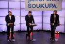 Zleva Jan Hrnčíř (SPD), Tomáš Martínek (Piráti) a Jiří Pospíšil (TOP 09).